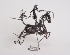 Petit cheval et cavalier 45X35X10 cm