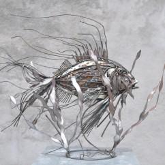 Essence de poisson N°4 bois et fer 70X60X40 cm