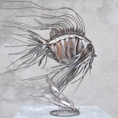 Essence de poisson N°1 bois et fer 50X45X25 cm