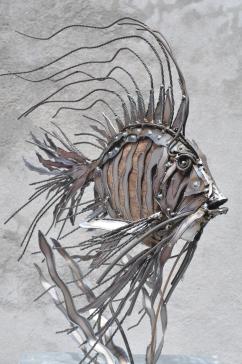 Essence de poisson N°2 bois et fer 60X70X40 cm