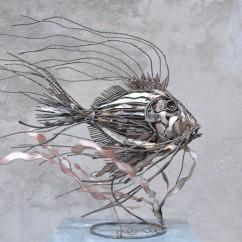 Essence de poisson N°3 bois et fer 65X60X40 cm